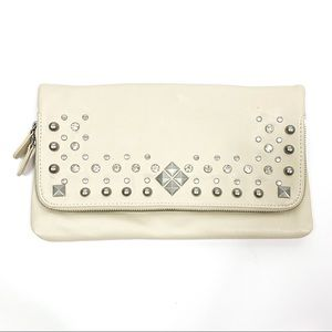 Aldo Rhinestone Bone Beige Crystal Clutch Bag